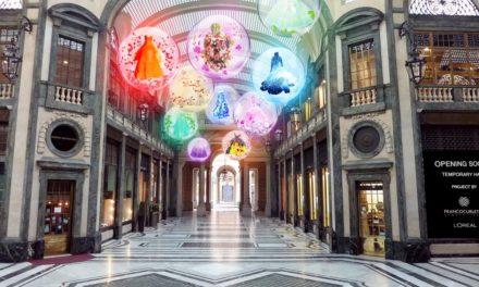 La moda illumina la Galleria San Federico – 8 bolle sospese nella volta