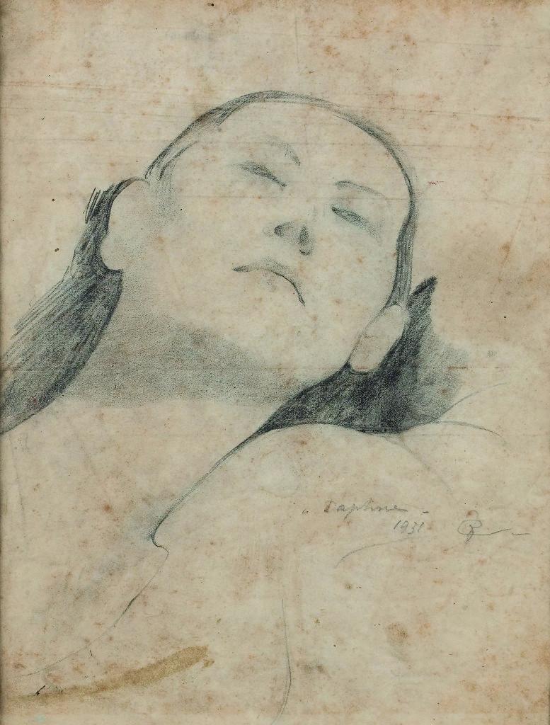 Felice Casorati, Ritratto di Daphne, matita su carta, 1931